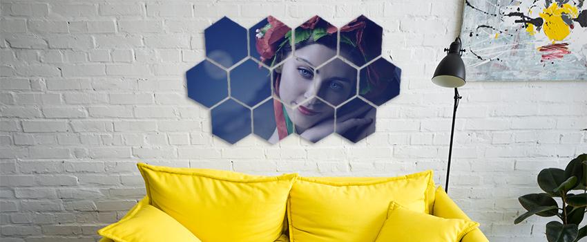 Fotoobraz hexagón s motívom ženy