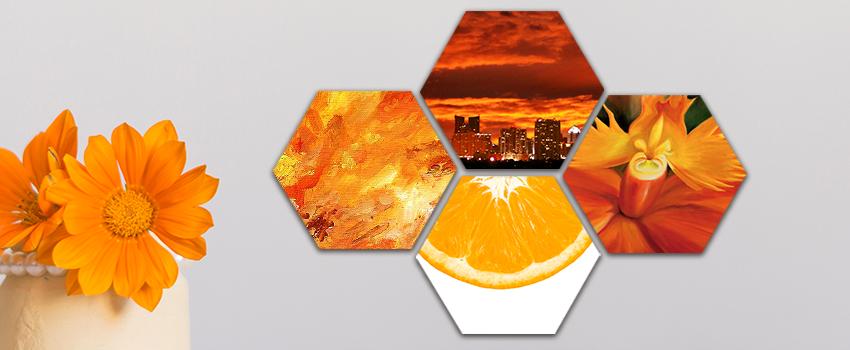 Oranžová série fotoobrazů hexagon
