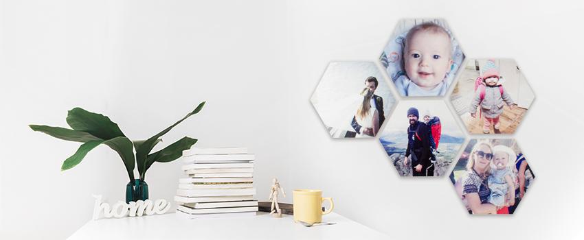 Fotoobraz hexagón s rodinnými fotkami