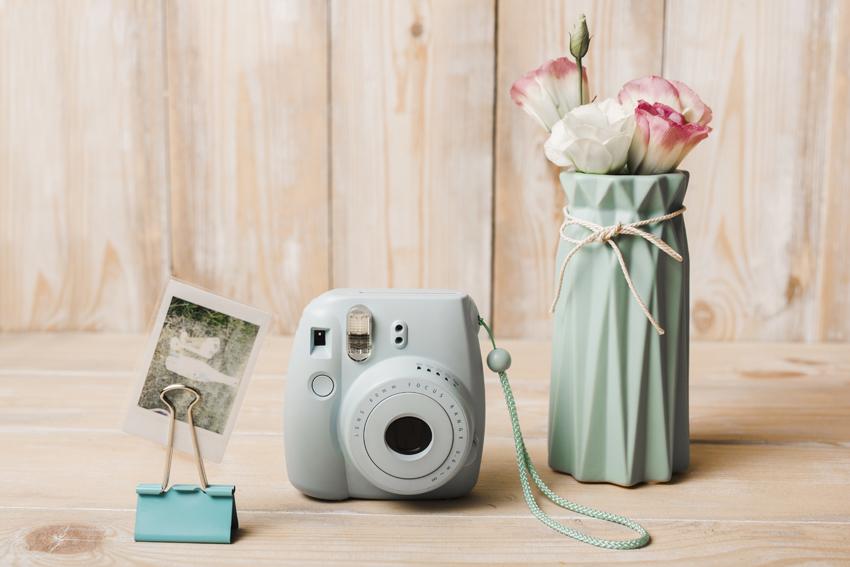 polaroid, čiernobiela fotografia a kvety vo váze
