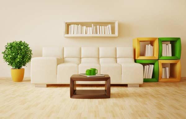Obývačka s netradičnými knižnicami