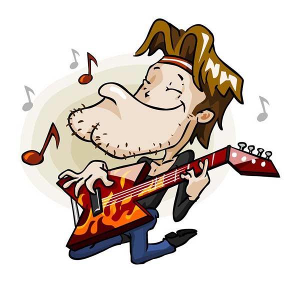 Kreslený hudobník s gitarou