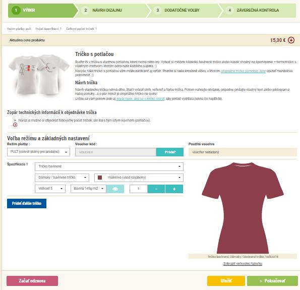 Náhľad objednávkového systému na objednávku trička