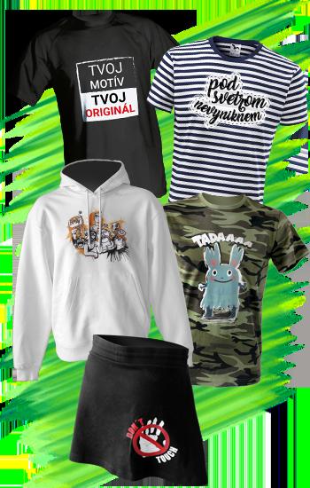 Produkty v letnej akcii - tričká a sukňa s potlačou