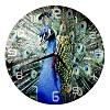 Okrúhle hodiny s fotografiou páva