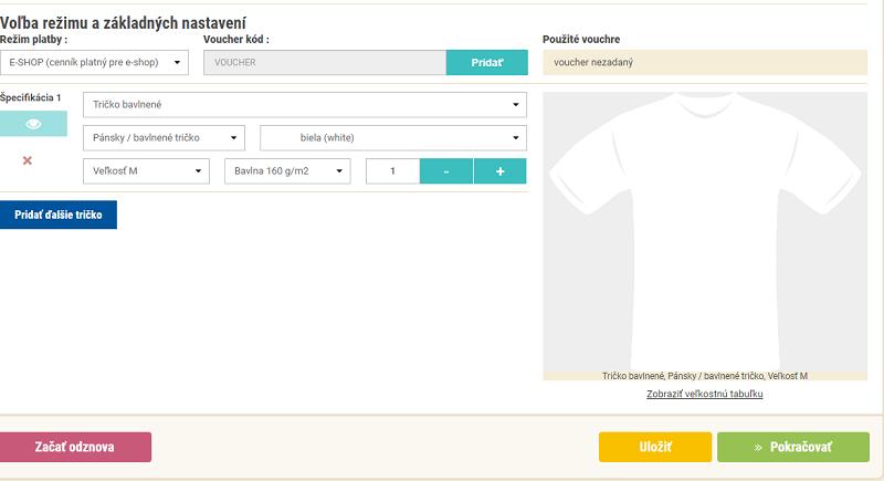 Základné nastavenia parametrov trička s vlastnou potlačou