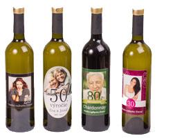 vínové fľaše s fotkou
