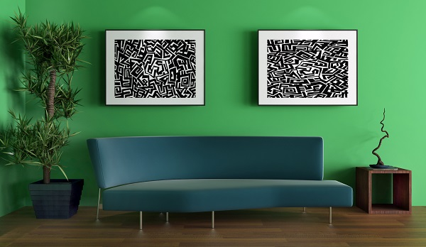 Výrazný obraz v obývacím pokoji
