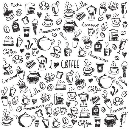 Omaľovánka s kávičkovým motívom