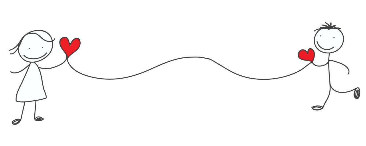 Kreslené postavičky so srdiečkami spojenými špagátom