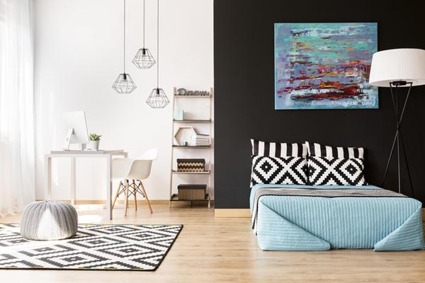 Spálňa ladená do modrej farby