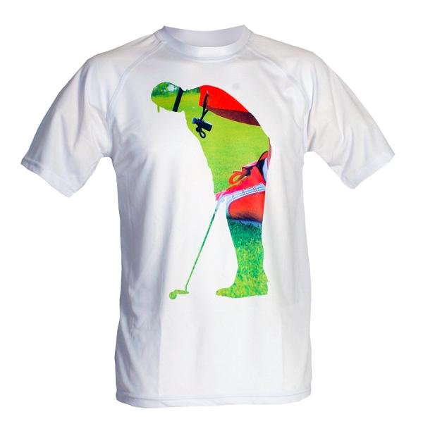 Bílé tričko s potiskem golfisty