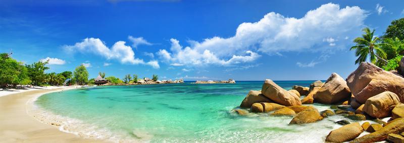 Tropická krajina - pláž, more, palmy