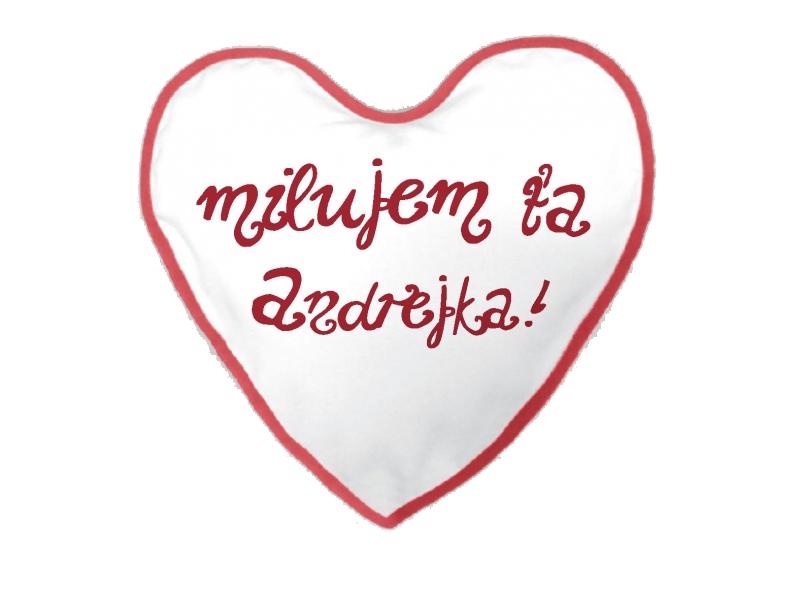 Vankúš s nápisom Milujem ťa Andrejka!, Darčekyodsrdca.sk